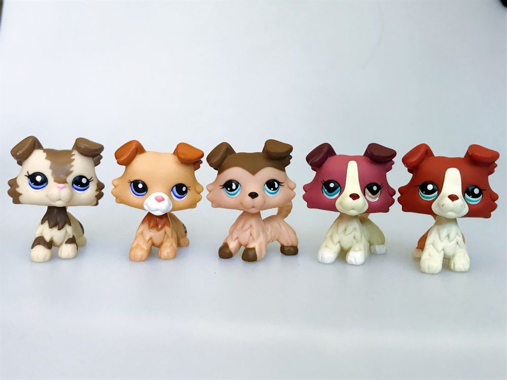 4pcs #2452 #1542 #58 #No Littlest Pet Shop Brown Collie Dog Puppy LPS